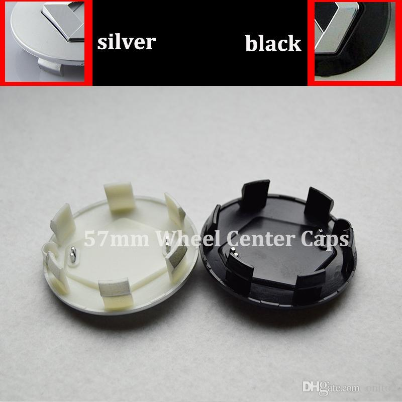 57mm argent noir chapeaux de roue auto chapeaux de moyeu de roue de voiture pour Renault Megane / Clio / Laguna / Twingo / Espace couvertures auto de embelm