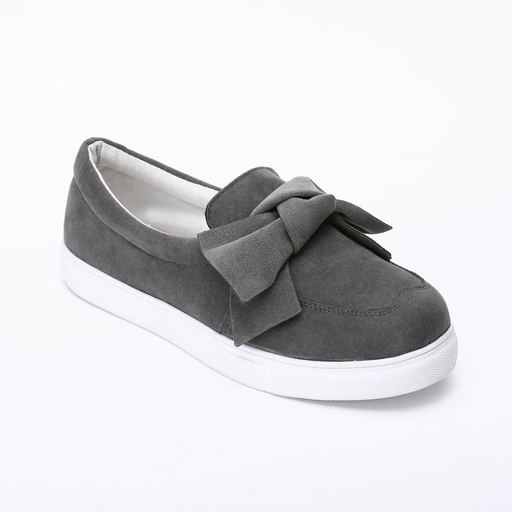 Zapatos de los planos de las mujeres del Bowknot de deslizamiento en los zapatos de mujer dulce plana diaria Concisa superficial Calzado Tamaño 35-53 cómoda ocasional