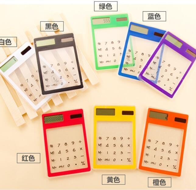 LCD Pantalla de 8 dígitos útil ultra delgada transparente calculadoras de bolsillo solar Calculadora de escritorio de oficina Claro calculadora científica