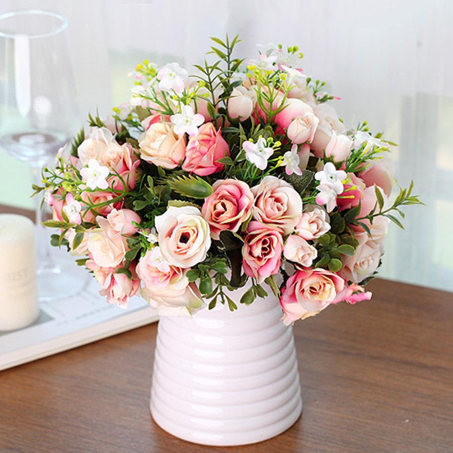 화이트 핑크색 다채로운 DIY 실크 로즈 인공 꽃 고품질 가짜 수국 꽃 홈 가든 웨딩 테이블 장식을위한
