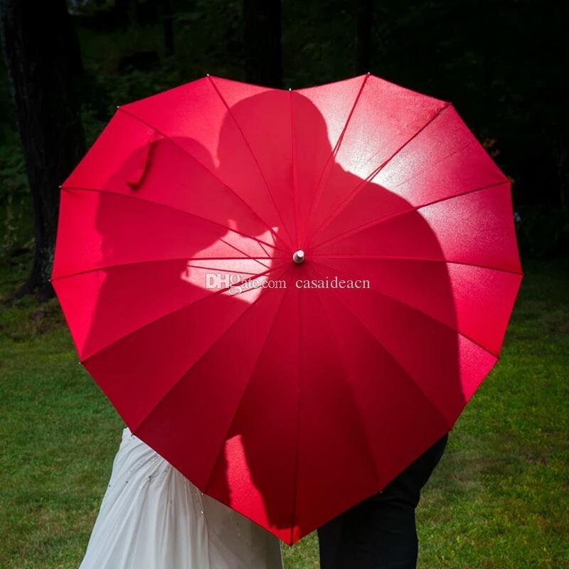 Red Heart Shaped Umbrella Bride Parasol Romantic Wedding Photo Shoot Prop