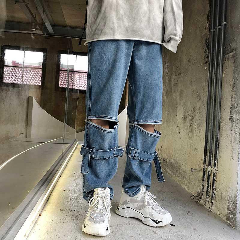 Japonais Nouveaux jeans pour hommes Hip Hop Tide Marque Wide Leg détachables loose Pantalon droites Casual hommes Vêtements Pantalons Jeans