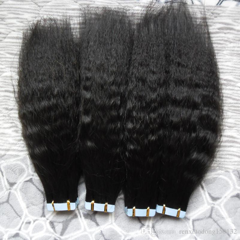 굵은 구이 요법 레미 테이프 인간의 머리카락 확장 80pcs 인간의 머리카락 연장에 변태 스트레이트 테이프 더블 그려진 접착 헤어 스킨 Weft 200G