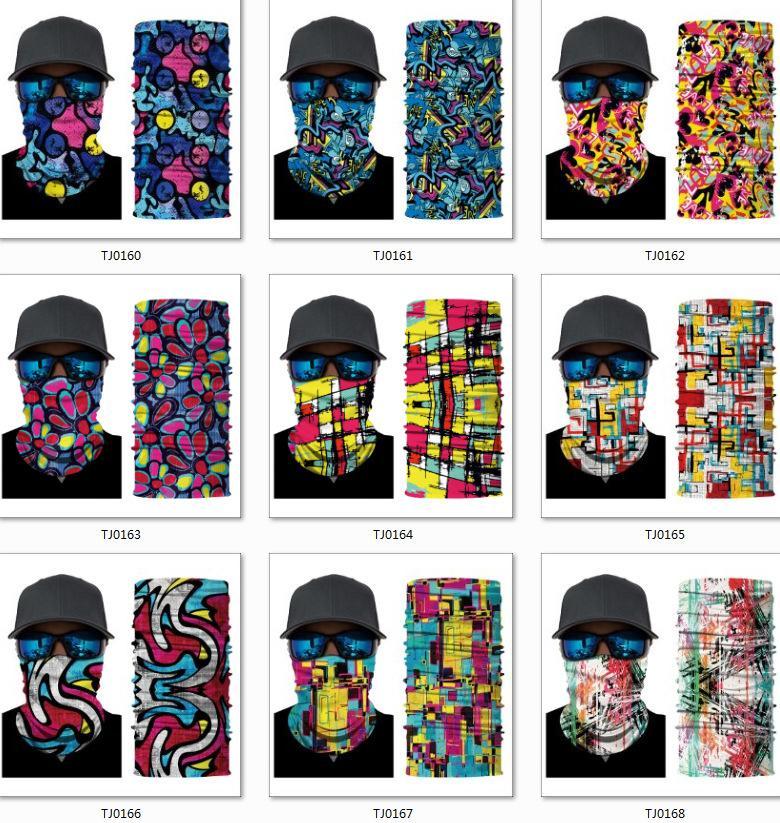 200 styles 2020 Masques de sport 3D Designer Masque de mode de mode Réutilisable Bandana Dacron Dacron sans couture Multipurpose Moto Kerchief Headf