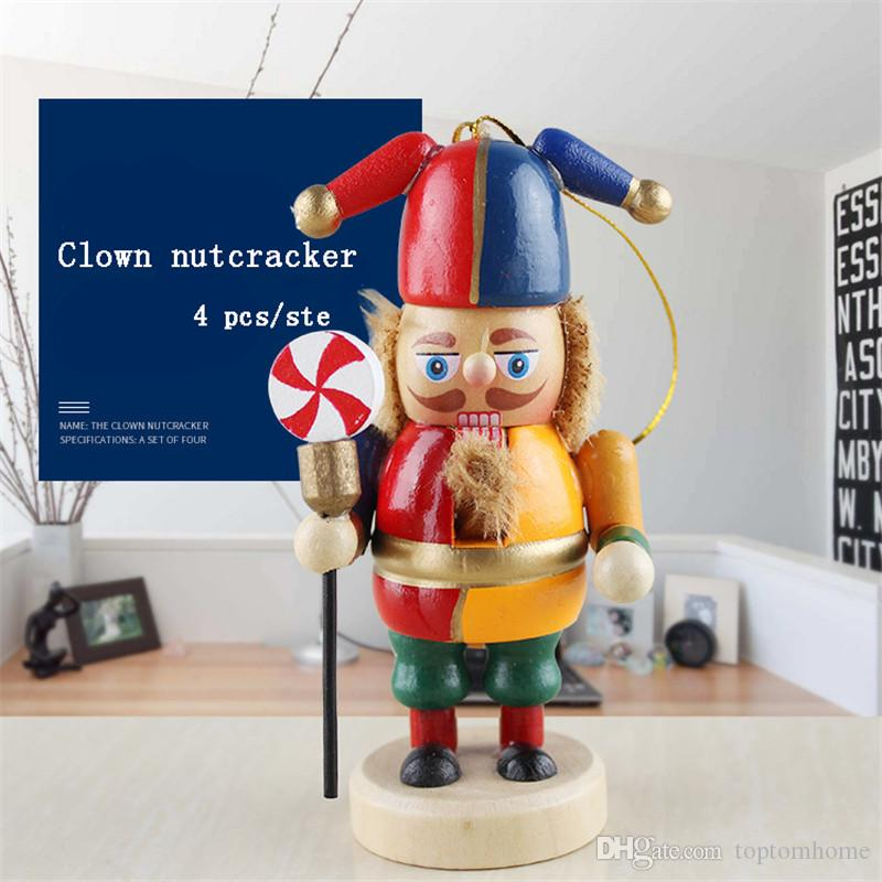 10CM Nutcracker Puppet Clown Chef Wooden Crafts Christmas Gift Home Decoration Desktop Ornaments Birthday gifts Toy for Girl Kids 4 pcs/set