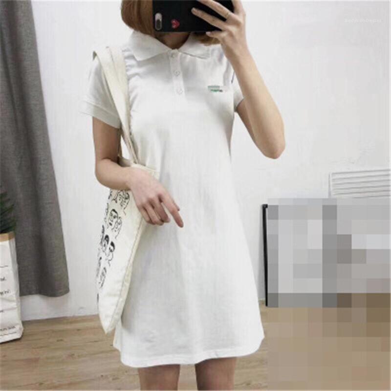 Yaka Yaka Kısa Kollu Gevşek Bir Çizgi Elbiseler Kadın Giyim Timsah Katı Kadın Tişörtü Elbise yazdır