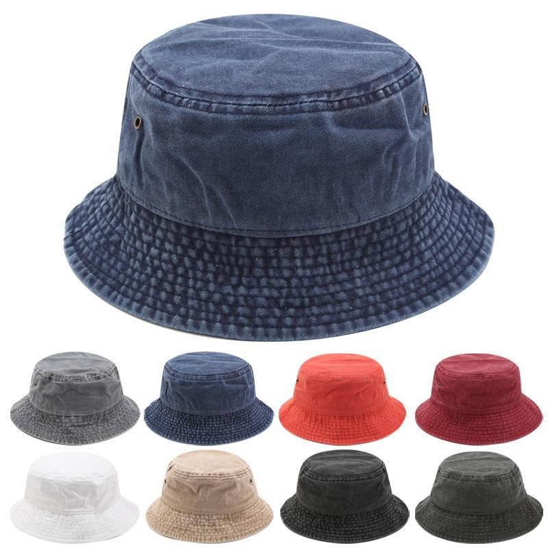 새로운 남여 일 모자 여성 여름 더블 사이드 버켓 모자 남성 순수한 컬러 Sunbonnet 페도라 야외 어부의 모자 챙 분지 캡