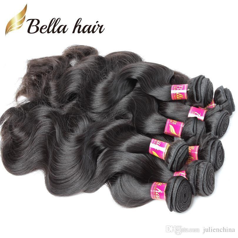 5 buntar obearbetade indiska jungfruliga hårväv naturliga svart färg vågiga kroppsvåg hårförlängningar bella hår