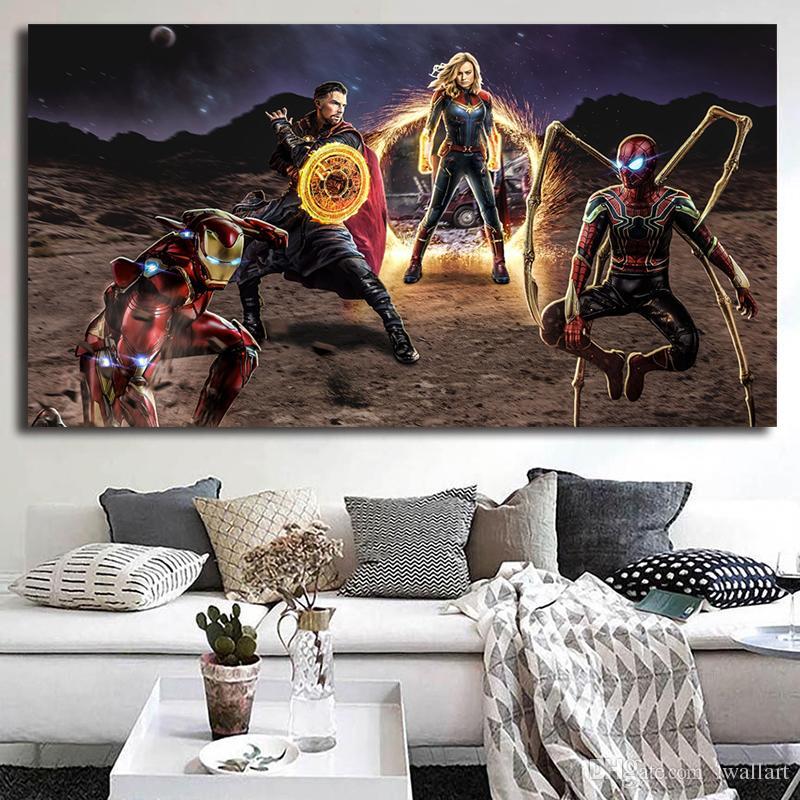 بطل المنتقمون نهاية اللعبة الأعجوبة قماش اللوحة HD ستريت صورة الملصق والطباعة الزخرفية ديكور المنزل
