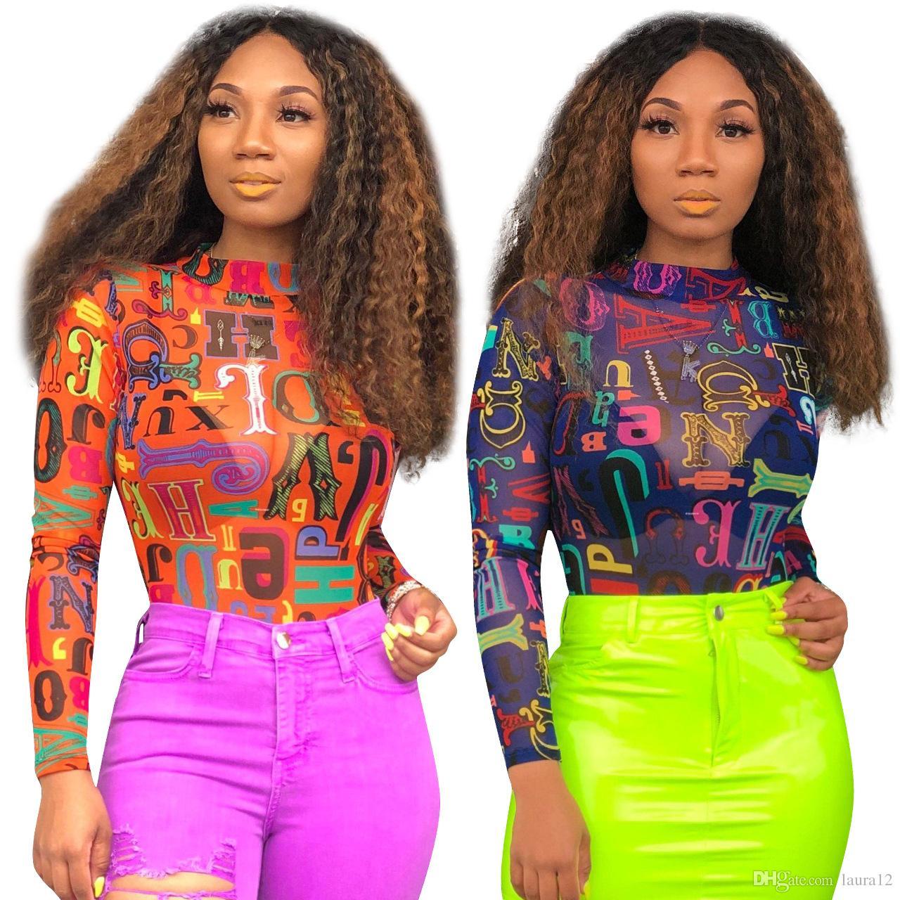 섹시한 슬림 레이디 티셔츠 Lettern Pattern Mesh 긴 소매 터틀넥 캐쥬얼 티셔츠 탑스와 티셔츠 for Women and Girls