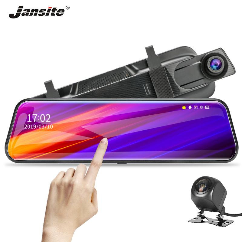 """Jansite 10"""" Dokunmatik Ekran Akış Araba DVR Dash kamera Çift Lens Oto Kamera Video Kaydedici Dikiz aynası eklenti 1080P Yedekleme"""