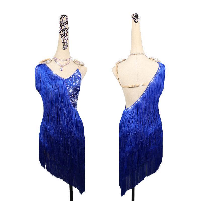 Latin Dance Competition Kleid Frauen Strass-Kleid-Blau Quasten Rumba Bühne Wear Gatsby Tanz Kleidung Frauen