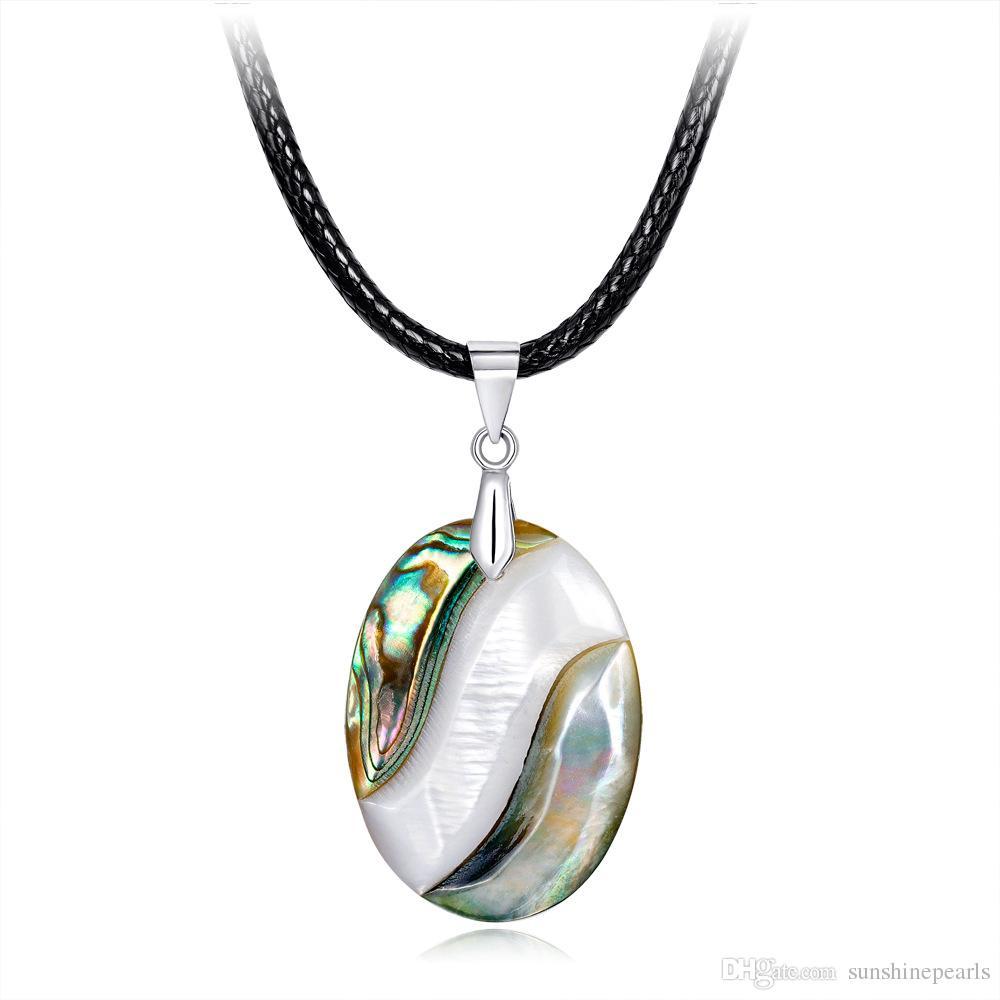 Natürliche Ohrschneckengroßhandelsschale, die vorbildliche Halsketten-hängende moderne DIY handgemachte Dame Necklace For Party Gift Free Shipping spleißt