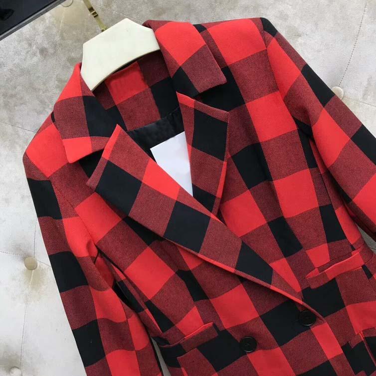 Конструктор женщин Plaid Blazer длинный толстый 2019 осень Новая зима Марка куртка для Леди Мода Плед Женщины Luxury одежда S-L