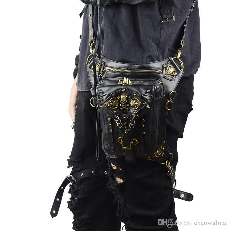 Gothic Fanny Packs Para Mulheres Homens Sacos de Cintura Unisex Messenger Bag Retro Bolsas De Ombro De Couro Rebite de Viagem Crossbody Do Punk Pochete