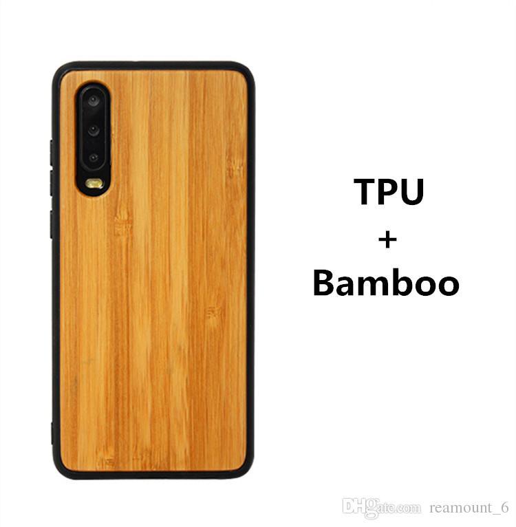 إلى Huawei P30 P20 Mate20 Round TPU + Wood Case Bamboo Wood Plate for Samsung Note 8 9 iPhone XS يمكن تخصيص نحت شعارك