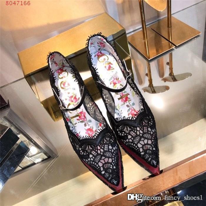 La dernière Lady dentelle respirante sandales à talons hauts talons Pointy partie robe d'affaires de la mode à talon haut talon hauteur 7,5 cm Emballage assorti