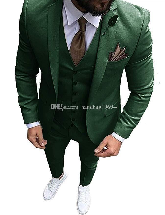 Alta calidad con un botón verde oscuro novio esmoquin muesca solapa padrinos de boda para hombre Trajes de boda / de Baile / Cena Blazer (chaqueta + pantalones + chaleco + Tie) K122