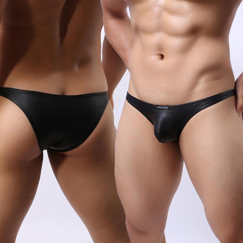 Мужчины Кожа Нижнее белье Трусы бикини Малый Sexy мешок бандаж Enhancer с низкой талией Человек Exotic Cuecas Slim Fit Трусы Panty Gay Underwarer