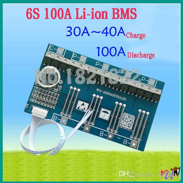 Freeshipping 6S 100A 22.2V li-ion BMS PCM battery protection board bms pcm for LicoO2 Limn2O4 li battery