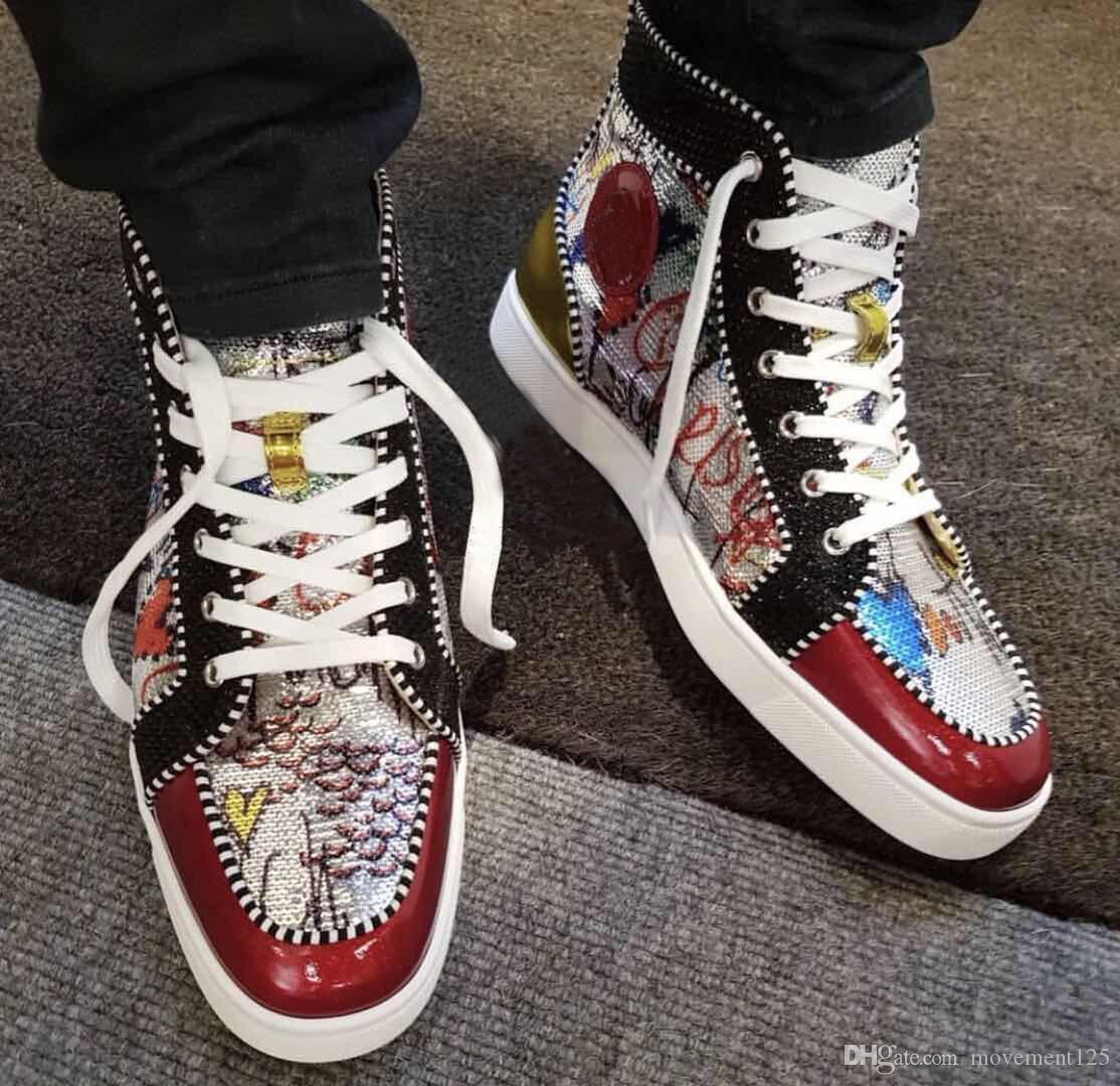 Designer parfait élégant Graffiti haut-top rouge Sneakers Bas Chaussures Hommes, Femmes Skateboard Party Luxe Chaussures de mariage UE: 35-46
