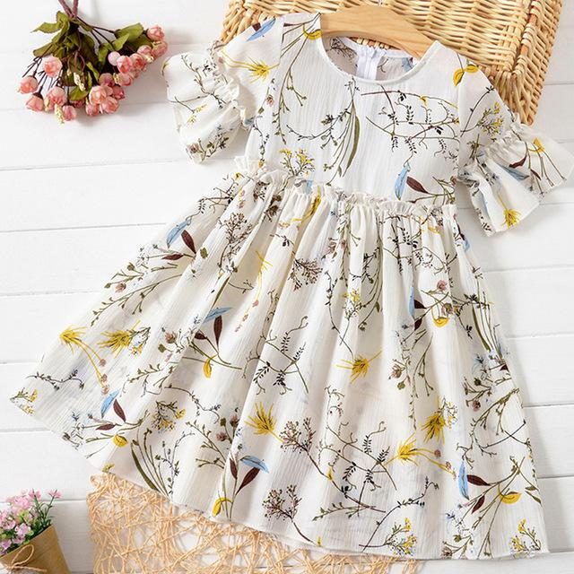 2020 Sommer-neue Kleinkind-Mädchen-Kleid-Prinzessin-Partei-Kleid-Mädchen-Aufflackern mit kurzen Ärmeln Rüschen besetzter Blumendruck-Kleid