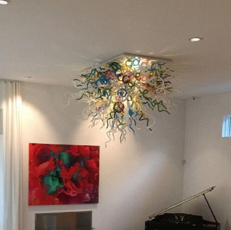 Moderne Ausblaseaggregate Decke Glas Pendelleuchten Einzigartige Villa Lighting Kronleuchter aus Muranoglas Hand geblasenem Glas Anhänger Marokkanische Deckenleuchte