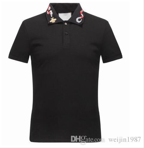 Nakış Yılan Arılar Streetwear polo t-shirt ile Moda Çiçek Tasarımcısı polos gömlek Erkekler Rasgele Klasik Katı Pamuk polos Yaka