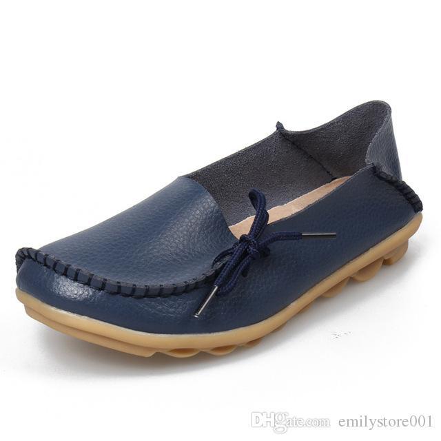 07-06-ETT13 Kadınlar Ilmek Flats Slip-On Kadın Loafer'lar Deri Ayakkabı Kadın Artı Boyutu Ile Yumuşak Moccasins Düz Ayakkabı
