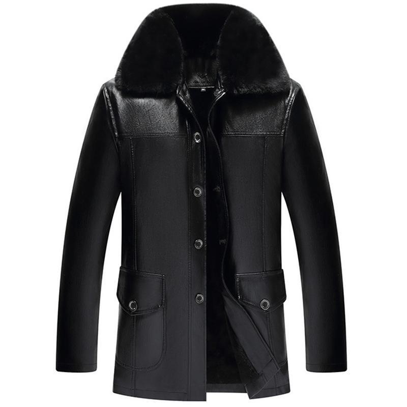 2019 зима среднего возраста Большой меховой воротник мужчин Кнопка Pu Daddy одежды Пять Пряжка Матовый И Плотная кожа пальто Мужские Блуждающие