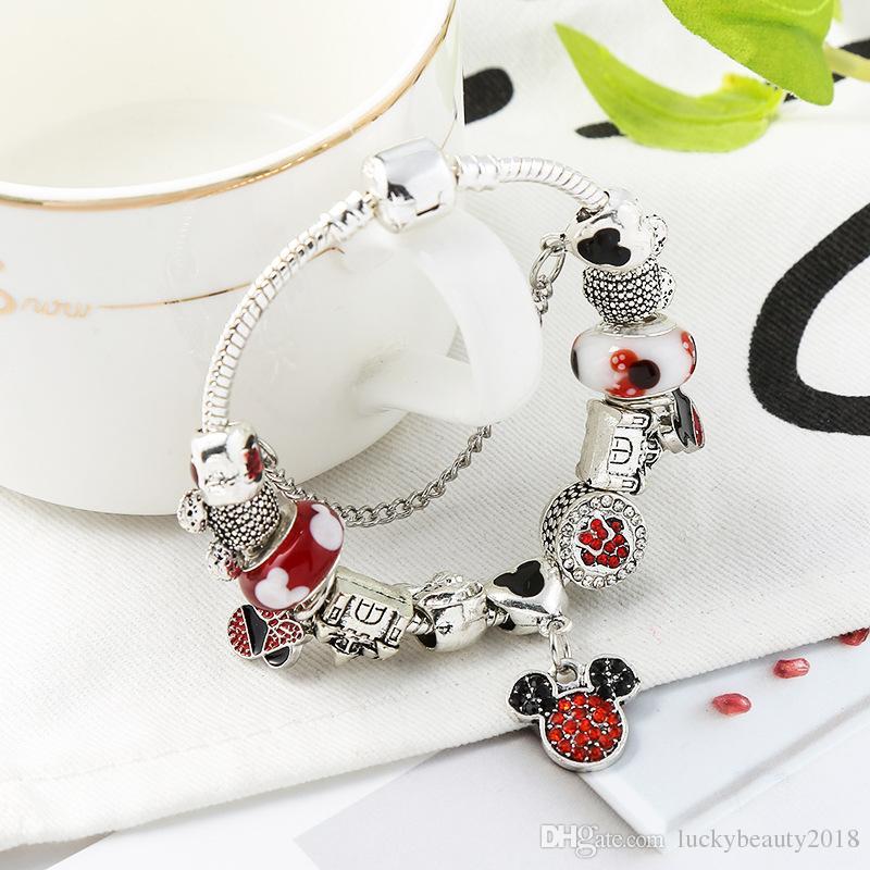 Charms in argento 925 adatti per braccialetto europeo Pandora Charm Bead Accessori Gioielli da sposa fai da te con regalo per ragazza Natale