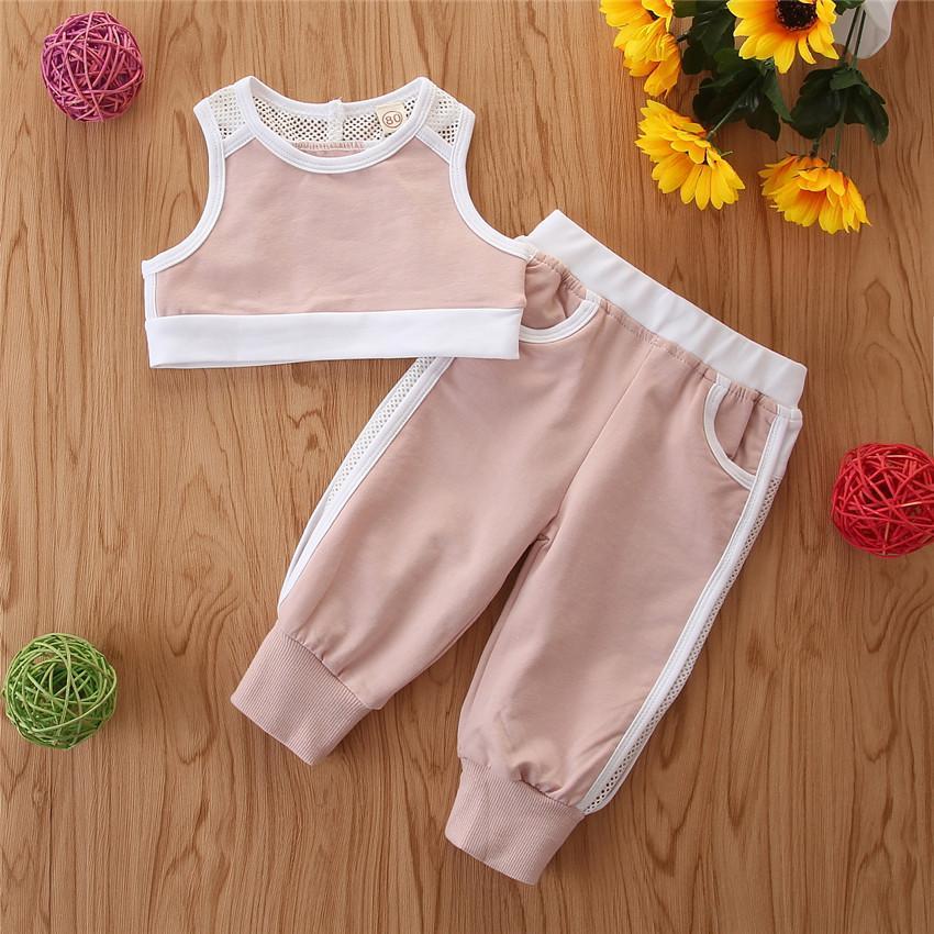 Mädchen Kleidung Set Sommer-Sport-Klage Sleeveless Tops Weste + Jogging-Hosen-Hose 2er-Set solid Outfits Kinder beiläufige Kleidung