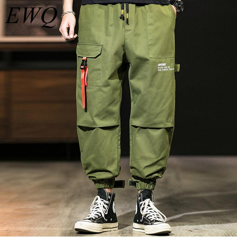 Ewq / mens wear 2020 spring Trend new More Pocket commonary Pants for Male letter printing loose cargo pants Overalls 9Y1428
