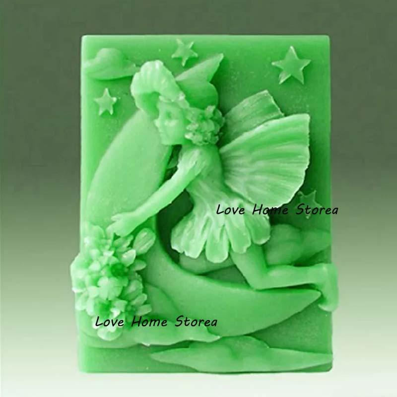 3d diy angel moon flower Silicone Molds biscuit cake molds Silicone Mold For Handmade Soap Candle Candy chocolate baking moulds kit