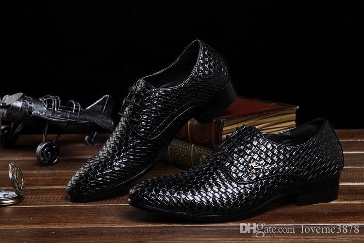 Männer interne Zunahme mit Herrenschuhen britischen spitzen schwarzen atmungsaktiven Friseur koreanische Version von Business Casual Weben kleine Leder