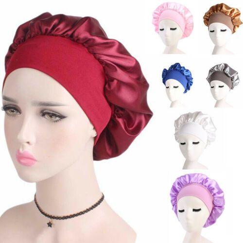 Nuovo Fshion solido Colore Donne raso notte di sonno Cap Cura dei capelli Bonnet cappello di seta copertura della testa larga Regolare Doccia Banda Elastica Headwrap