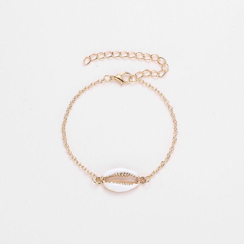 Bracciale a conchiglia per donna gioielli concisi all'ingrosso color oro vero cipresso in bracciale a catena regolabile bracciali portafortuna donna