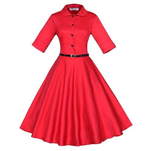 Повседневные платья Maggie Tang 3/4 рукав 1950-х годов Винтаж рокабилли полное круговое платье