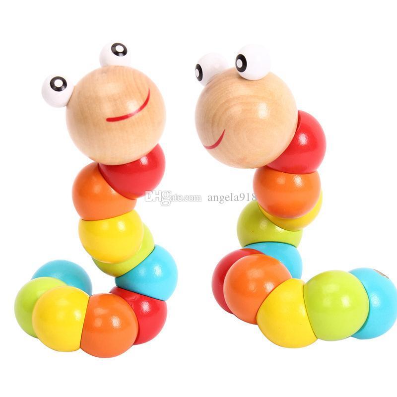 20cm Diverses formes torsadant jouets de chenilles en bois coloré Wriggle Tarkenterworm poupée pour enfants bébé drôle intelligence jouets cadeaux LA277