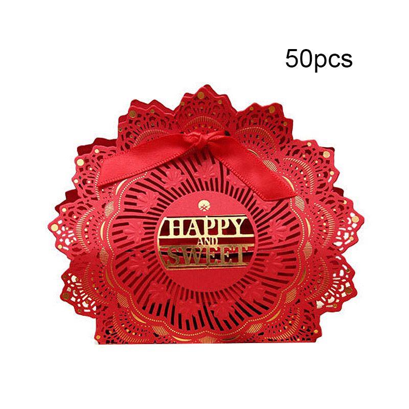 50pcs / set Caramella di carta Hollow Butterfly Design Cina Red Style Gift Boxes Decorazione di nozze Bomboniere Personalità scatola di cioccolatini