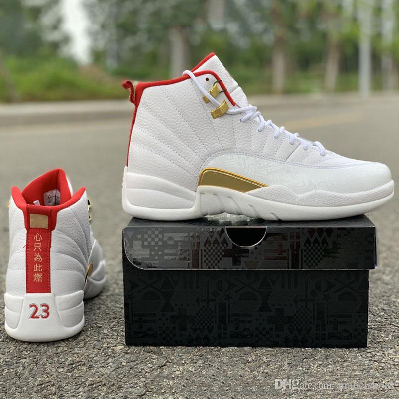2019 FIBA Basketball Shoes 12s Real Carbon Fiber Designer Top Leather Mens Outdoor Sports Sneaker With Shoebox