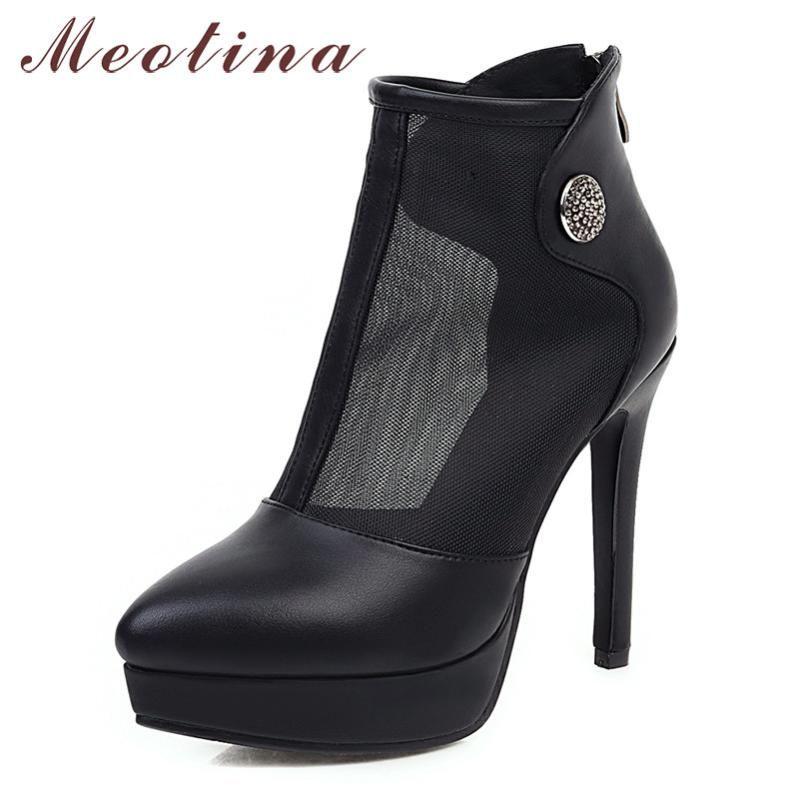 Meotina Yaz Boots Kadınlar Fermuar Platformu İnce Topuk Kısa Çizme Kesim Extreme Yüksek Topuk Ayakkabı Lady Bahar Büyük Boy 33-43 Ayakkabılar