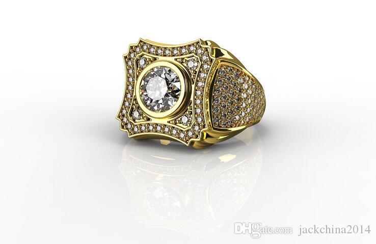 2020 Vintage sterling 925 Silver18K Oro Fill Donne Wedding taglio rotondo Diamante CZ fidanzamento a cristallo anello della fascia Uomini regalo per