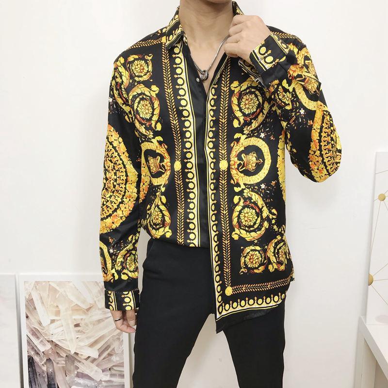 Nuovo Autunno Men Dress Camicie maniche lunghe Hipster Fancy Shirts Luxury Design barocco stampa floreale T-shirt Festa di nozze Prom MX200518