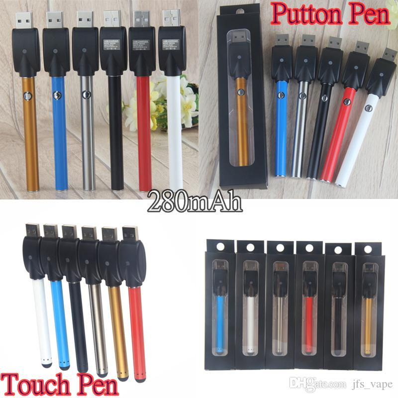 Vape Wax Oil Pens Battery 280 mAh CE3 Bud O.Pen Touch 510 Thread EGO Button Vaporizer Cartridges Batteries Electronic Cigarette