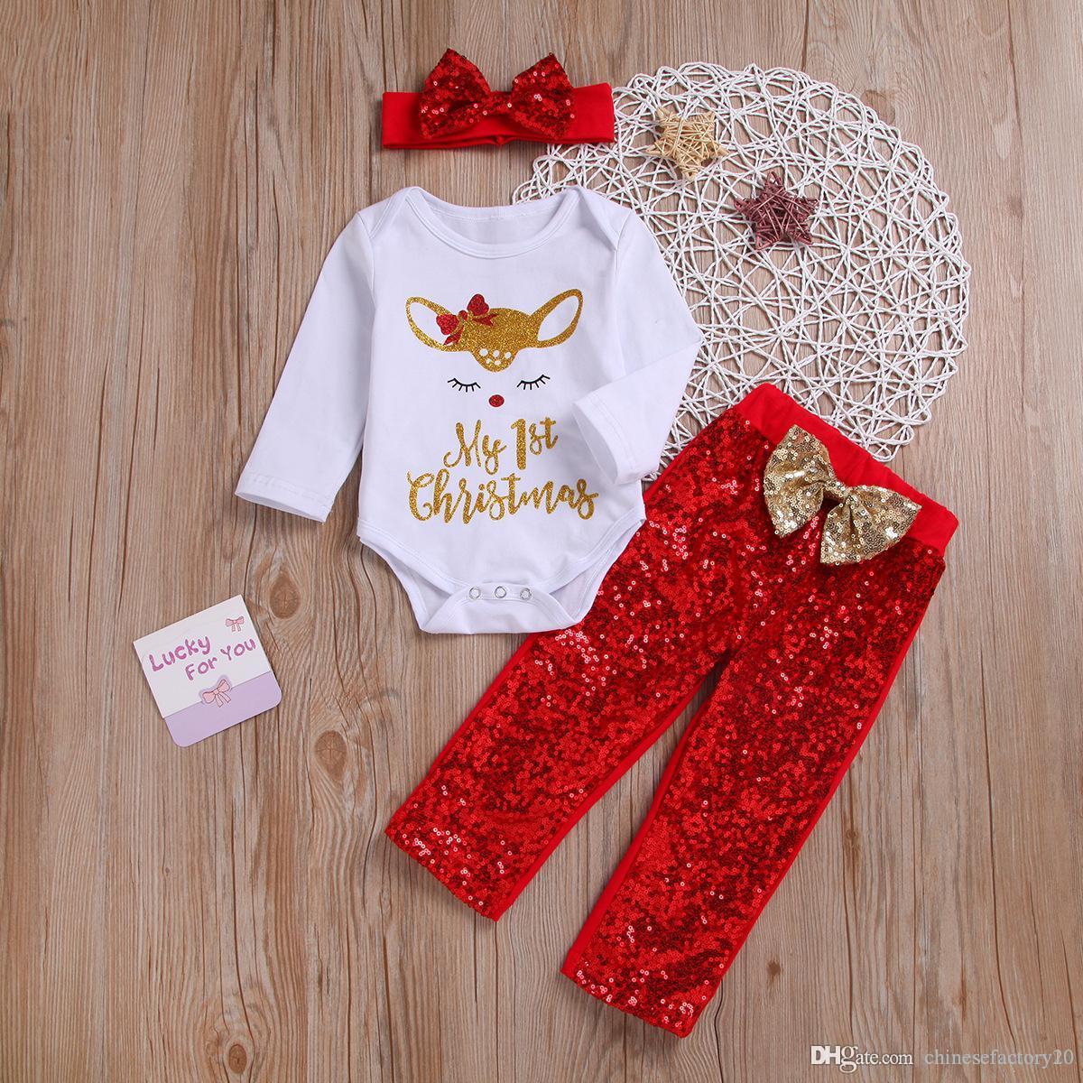 아기 여자 크리스마스 의류 세트 엘크 편지 장난 꾸러기 + 붉은 나비 머리띠 + 장식 조각 바지 긴 소매 첫번째 크리스마스 아동 정장