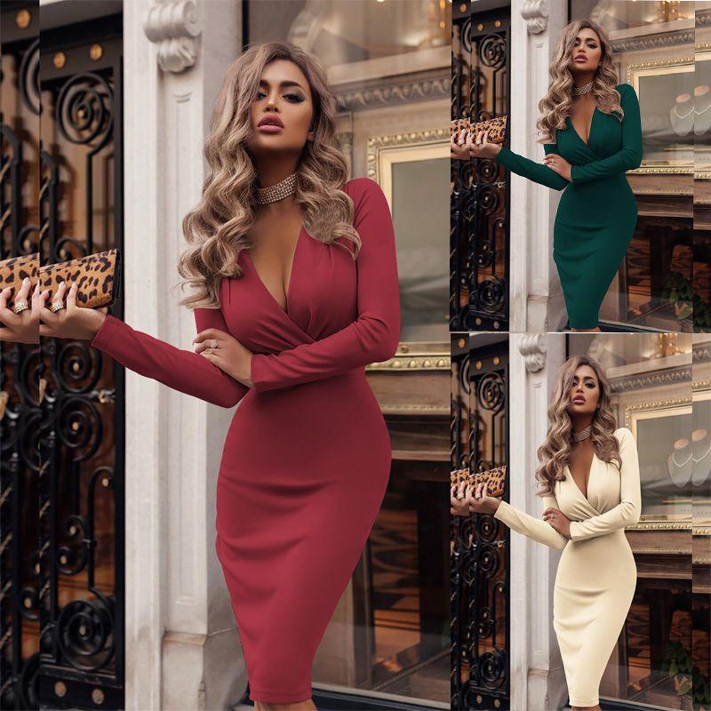 7 ألوان النساء فساتين الهيئة غير الرسمية فساتين الخريف والشتاء كم طويل مثير العميق الخامس الرقبة حزب اللباس البسيطة السيدات الصلبة اللون S-XXL