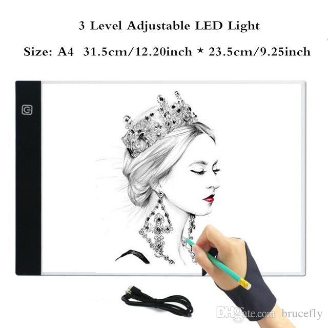 Tablette graphique à led A4 Tablette graphique A4 LED Tablette à dessin Thin Art Tableau de dessin au pochoir Tableau de traçage à trois niveaux