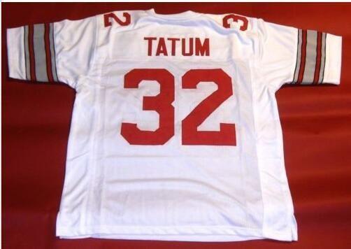 Benutzerdefinierte Männer Jugend Frauen Weinlese-Staat Ohio-Rosskastanien # 32 Jack Tatum Fußball-Jersey-Größe s-4XL oder benutzerdefinierte beliebige Namen oder Nummer Jersey