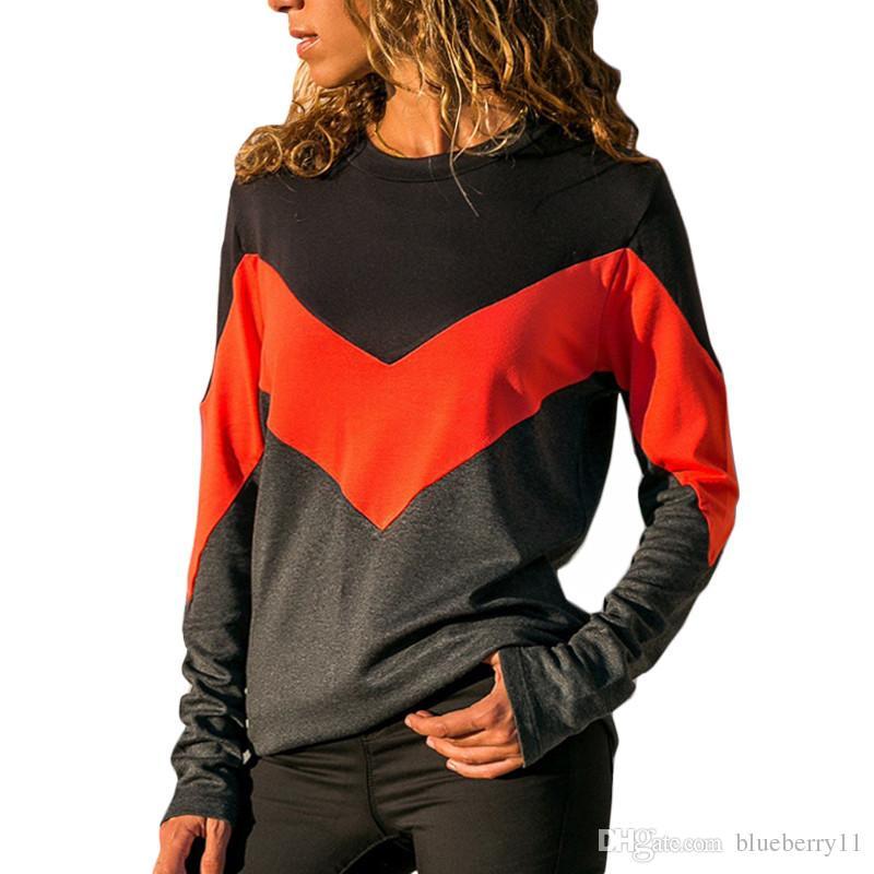 Sommer Mode Patchwork O Hals T Shirt Frauen Tops T-shirt Langarm T-shirt Frauen Gelb Rot Tops Tees